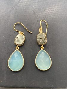 Stunning stamped sterling silver 925 aqua chalcedony & pyrite drop earrings