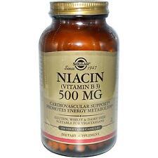 Vitamin B3 (Niacin) - 250 - 500mg Veggie Caps - Solgar - Cardiovascular Support