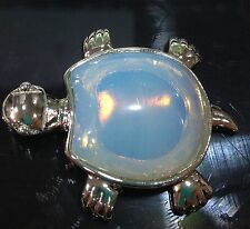 Pretty Natural White Opal Gemstone Garden Turtle Pendant 18KGP AAA