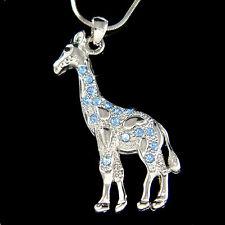 w Swarovski Crystal  Blue Giraffe Safari Animal Girls Pendant Chain Necklace New
