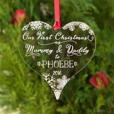 Our 1st Christmas as Mummy & Daddy Personalised Heart Bauble New Parents Present