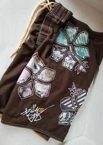 BILLABONG Water Repellent Embroidered Board Shorts Swim M124VHAP Size 29 RARE