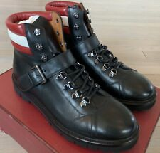$1,200 Bally Champions Black Leather Hiker Boots Size US 10 Made in Switzerland