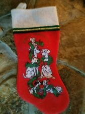 "Vintage Felt Christmas Stocking Disney's 101 Dalmatians 16"" Red Felt White Trim"