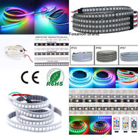 WS2812B 5050 RGB LED Strip Lights 5M 60 144 2M 150 300 Individual Addressable 5V
