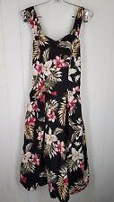 Jade Fashions Dress size S black floral print Hawaiian tropical Sleeveless ruche