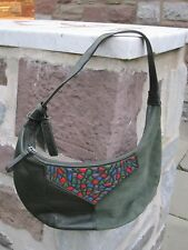 Sabrina Scala Green Suede & Leather Hobo with Mosaic Multi Color Front