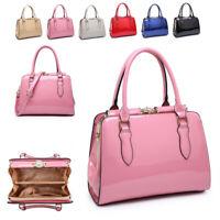 Ladies Classic Patent Handbag Vintage Gem Clasp Shoulder Bag Box Tote MA36435