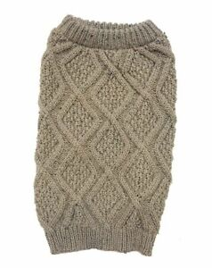 """LM Outdoor Dog Fisherman Dog Sweater - Taupe X-Large (24""""-29"""" Neck to Tail)"""