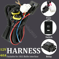 Switch 12V 40A Relay Wiring Harness Work Fog Light Bar Kit ON/OFF LED For H11
