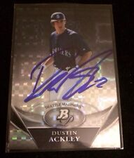 DUSTIN ACKLEY 2011 TOPPS Autographed Signed AUTO Baseball Card BPP32 MARINERS