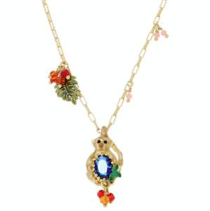 LES NÉRÉIDES 14ct Gold Tone Necklace with Enamel Jungle Monkey Pendant - £125