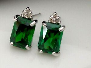 RUSSIAN EMERALD 10K 10CT SOLID WHITE GOLD STUD EARRINGS