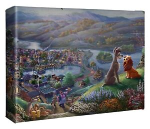 Thomas Kinkade Studio Lady and the Tramp Falling In Love 8 x 10 Wrapped Canvas
