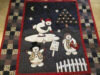 Appliqué Country Quilt Wall Hanging, Snowmen, Trees, Stars, Moon, Nine Patch