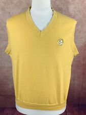 Victoria National Golf Club Cotton Knit Vest Yellow Embroidered Men's XL