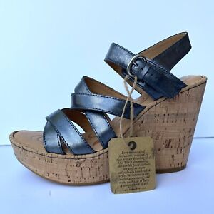 Born Cork Wedge Strappy Brushed Metallic Strappy Sandals Womens 8 39