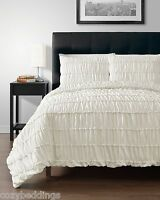 Ruched IVORY 3pc Comforter Set Ruffled Pinch pleat Bed Cover Bedddings All Size