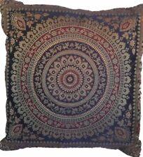"Navy Indian Ethnic Mandala Silk Brocade Cushion Covers Handmade 15"" Zip Back"