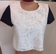 Mika & Gala Top White Lace Black Pleather Sleeves Size Small