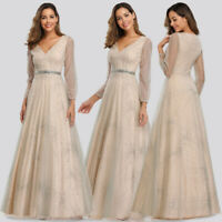 Ever-Pretty US Long Sleeve V-neck Evening Prom Dresses Glitter A-Line Party Gown