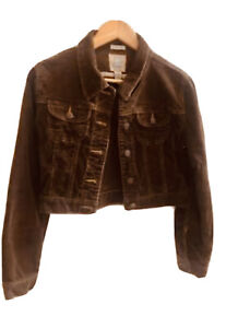 Fall Essential Old Navy Corduroy Cropped Jacket Size M Brown Stretch EUC