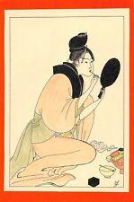 Dessin encre de chine & aquarelle Japon Hand made china ink signé Geneviève n26