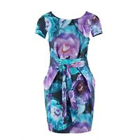 Closet Floral Tulip Wiggle Dress Cinched Waist Cap Sleeve Pockets Occasion UK 14