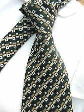 LLOYD ATTREE & SMITH GREEN GOLD BLACK 3.75 INCH POLYESTER MANS NECK TIE