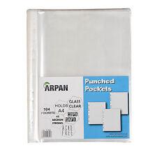 104 bolsillos transparente A4 perforada fuerte plástico Carteras presentación carpeta Mangas -