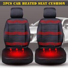 2x 12V PU Leather Car Seats Heated Cushion Pad Cover Heating Winter Warmer Hot