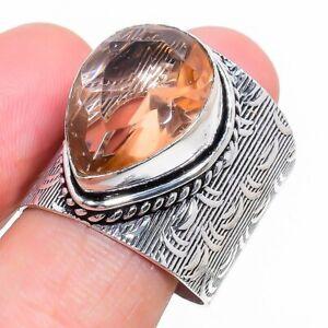 Morganite Gemstone Handmade 925 Sterling Silver Jewelry Ring Size 9.5 h979