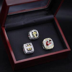 3pc NBA Lebron James NBA Championship Ring with Wooden Display Box Set