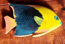 Beautiful Colored Hand Painted/Carved Wooden Fish - Multi-Colored about7� Length