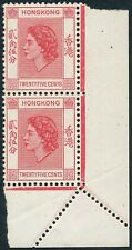 Hong Kong QEII 1954-62 25c Mis-perforated Corner Margin Pair Fine Unmounted Mint