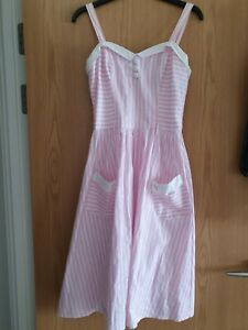 Hellbunny 50s Style Pink & White Stripe Flared Dress Button Back great condition