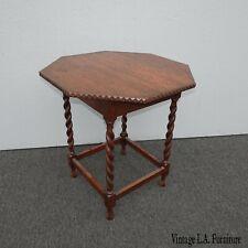 Vintage French Country Oak Hexagon Side Table w Barley Twist Legs