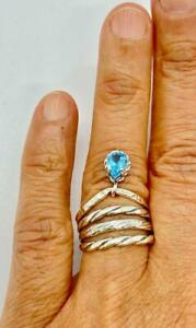 HSN LiPaz 14K Gold Over Sterling Silver Pear Blue Topaz Charm Ring in Size 6