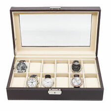 12 (10 + 2) CHOCOLATE BROWN LEATHER MEN'S WATCH GLASS DISPLAY COLLECTOR CASE BOX