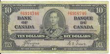 Bank of Canada 1937 $10 Ten Dollars Coyne-Towers  A/T Prefix VF King George VI