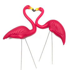 1 Pairs Of Pink Flamingos Plastic Yard Garden Lawn Art Ornaments Decorations New