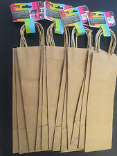 12x Paper Bottle Bags Wine Bag Gift Wrapping Brown Paper Bag Craft Bag Gift Bulk