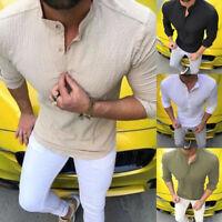 Stylish Tops Men's Luxury Long Sleeve Casual Plain Shirt Slim Fit Dress Shirts