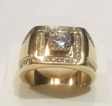 Ring Yellow Gold Ov Size 10 2.50 Ct Mens Round Solitaire Diamond Cocktail