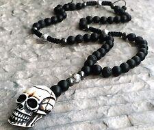 Halskette große Totenkopf Onyx perlen Lavastein Hämatit skull Necklace Shamballa