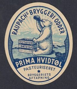 Denmark Beer Label  RAUPACHS BREWERY ODDER / POLAR BEAR