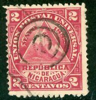 Nicaragua 1882 ABNC 2¢ w/ Target  Cancel VFU L844