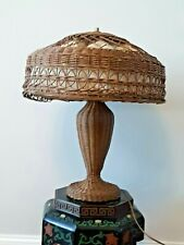 Antique Large Natural Wicker Table Lamp & Shade Victorian Mission Arts & Crafts
