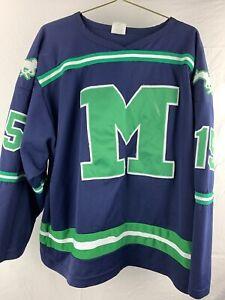 Mustangs Blue Green #15 Hockey Jersey Men's Size XL
