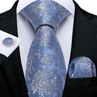 Silk Tie Blue Jacquard Paisley Set Mens Necktie Hanky Cufflinks Wedding Party